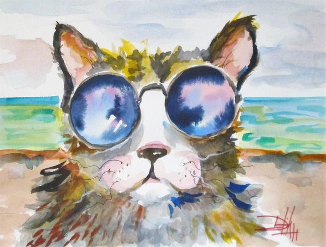 Art: Beach Cat-sold by Artist Delilah Smith