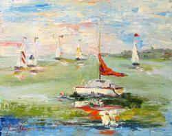 Art: Red Sail by Artist Delilah Smith