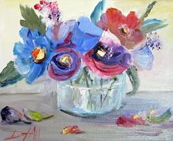 Art: Floral Still Life with Blue Flowers by Artist Delilah Smith