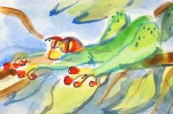 Art: Green Tree Frog by Artist Delilah Smith
