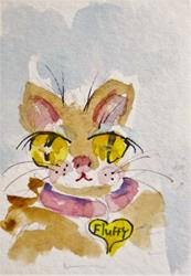 Art: Fluffy with Pink Collar by Artist Delilah Smith