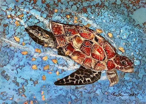 Art: Sea Turtle by Artist Alma Lee