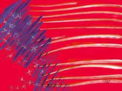 Art: Shocking Red White & Blue by Artist Art ByGeorge!
