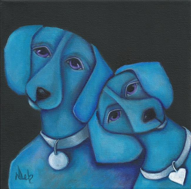 Art: BLUE DOXIES by Artist Deb Harvey