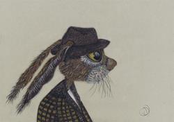 Art: HARE IN HAT h3068 by Artist Dawn Barker