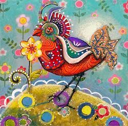Art: Funky Bird by Artist Alma Lee