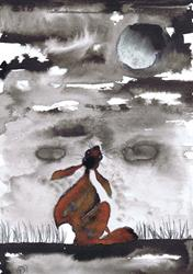 Art: MOONGAZING HARE h3309 by Artist Dawn Barker