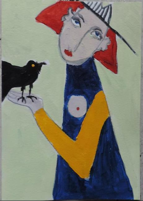 Art: woman with crow by Artist Nancy Denommee