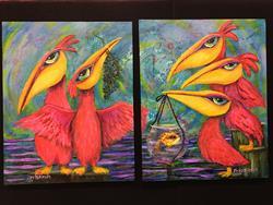 Art: Pelican Diptych by Artist Ke Robinson