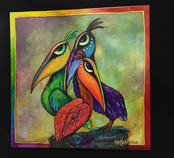 Art: 3 Pelicans - SOLD by Artist Ke Robinson