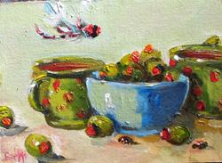 Art: Dragonfly and Olives by Artist Delilah Smith