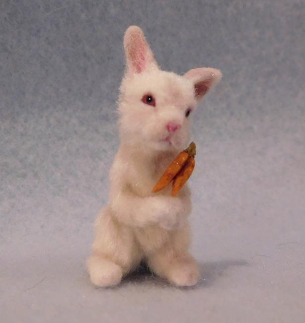 Art: Silk Furred White Bunny Rabbit by Artist Camille Meeker Turner