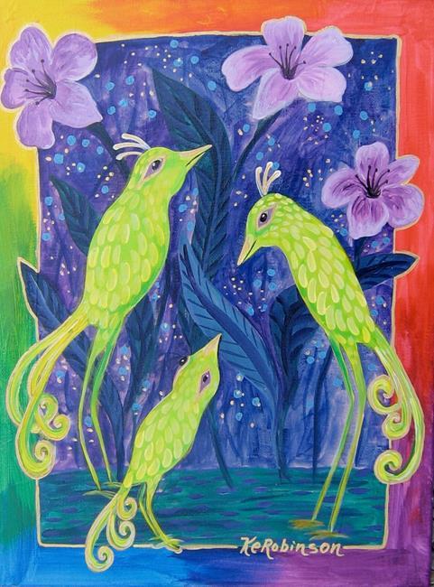 Art: Green Kiwi Birds by Artist Ke Robinson