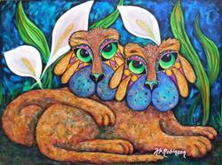Art: Winston and Eleanor Cats 30X40 by Artist Ke Robinson