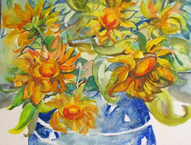 Art: Sunflowers in a Blue Vase by Artist Delilah Smith