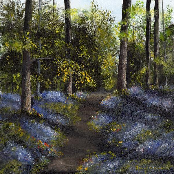 Art: Bluebell Path by Artist Janet M Graham