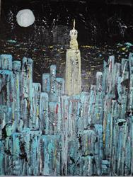Art: manhattan moon by Artist Nancy Denommee