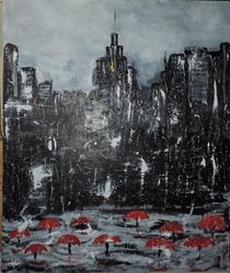 Art: rainy manhattan day by Artist Nancy Denommee