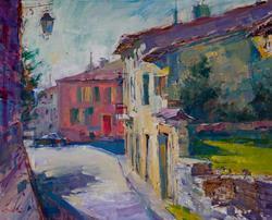 Art: Stroll Through Town, Provence ARTSALA by Artist Bill Suttles
