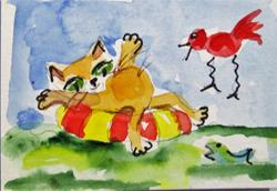 Art: Kitty Cat Beach Day by Artist Delilah Smith