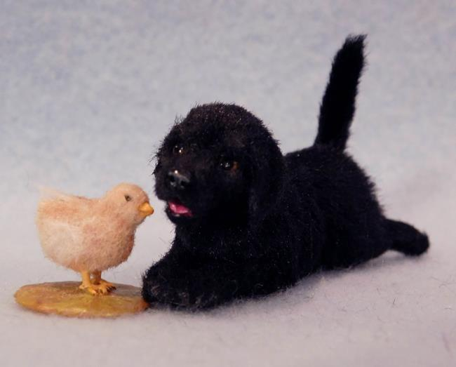 Art: Black Lab Puppy and Chick by Artist Camille Meeker Turner