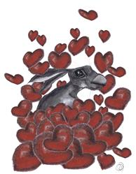 Art: HARE IN HEARTS h3310 by Artist Dawn Barker
