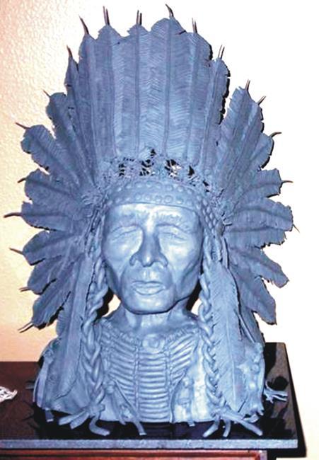 Art: Clay Indian Head Sculpture  by Leonard G. Collins by Artist Leonard G. Collins