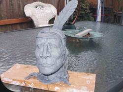 Art: Clay Indian Sculpture by Leonard G. Collins by Artist Leonard G. Collins