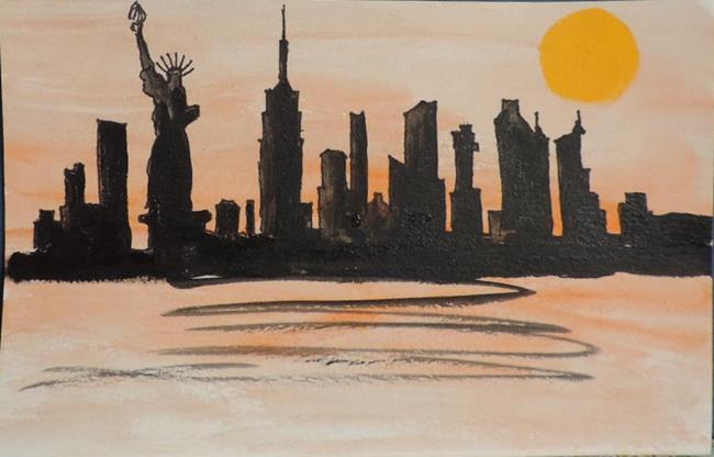 Art: scrambled skyline by Artist Nancy Denommee