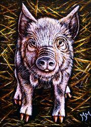 Art: Piggy  (SOLD) by Artist Monique Morin Matson