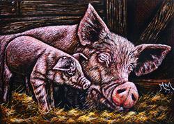 Art: Mommy & Piggy by Artist Monique Morin Matson