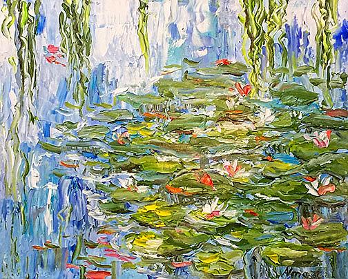 Art: Water Pond Lilies by Artist Alma Lee