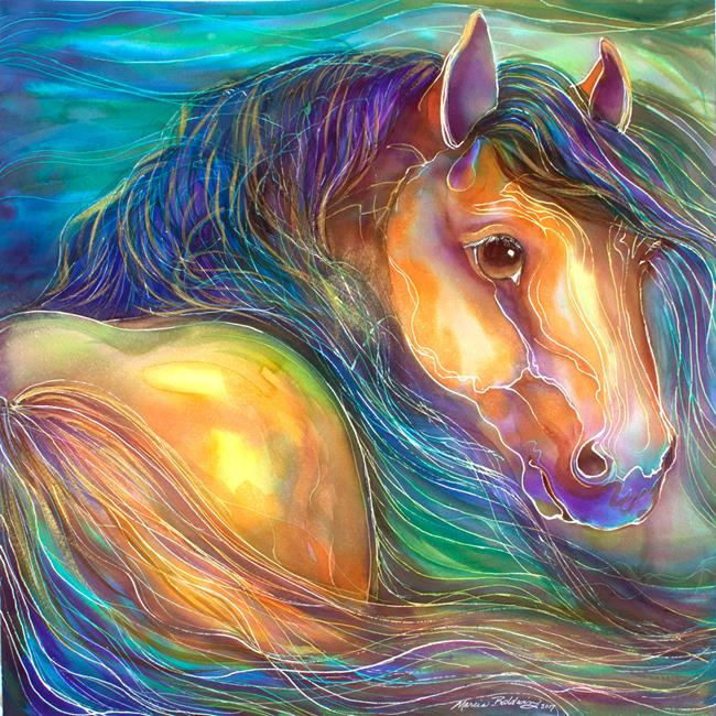 Art: SPIRIT WIND in WATERCOLOR by Artist Marcia Baldwin
