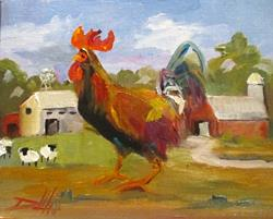 Art: Farm Rooster by Artist Delilah Smith
