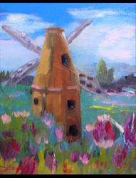 Art: Tulips and Windmill by Artist Delilah Smith