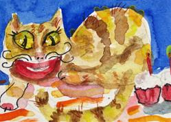 Art: Cheshire Cat with Cupcakes by Artist Delilah Smith