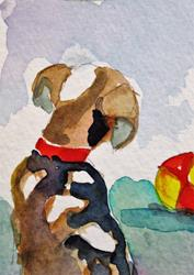 Art: Puppy and Ball by Artist Delilah Smith