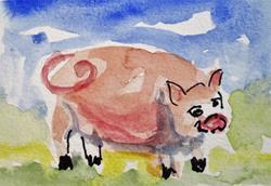 Art: Chubby Pig by Artist Delilah Smith