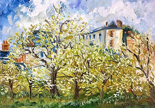 Art: Pissarro's Orchard by Artist Alma Lee