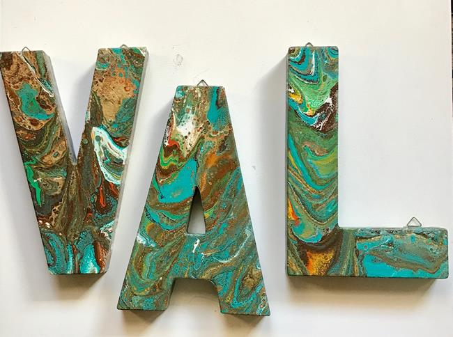Art: Abstract Painted Canvas Letters - sold by Artist Ulrike 'Ricky' Martin