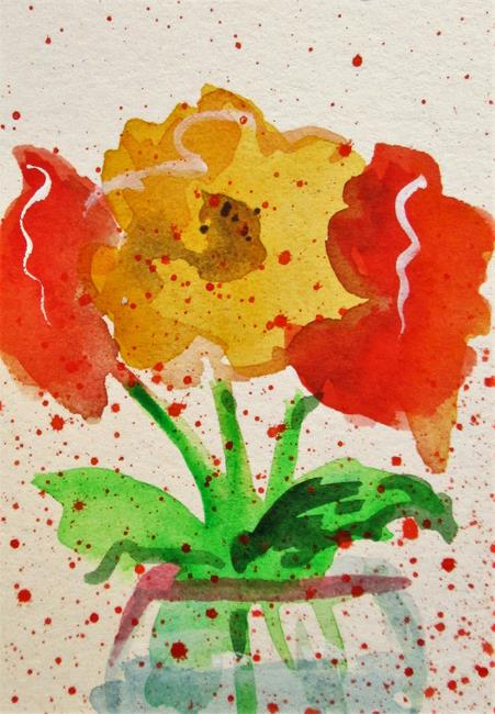 Art: Red and Yellow Flowers by Artist Delilah Smith
