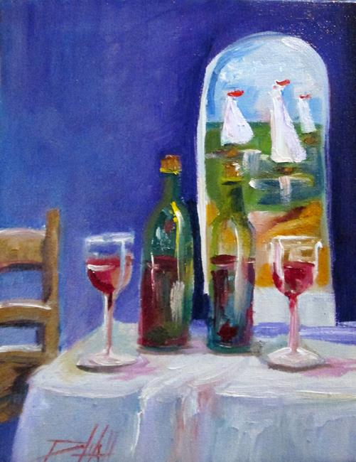 Art: Wine and Sailboats by Artist Delilah Smith