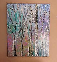 Art: Birch tree by Artist MarikasPaintings