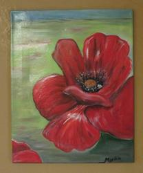 Art: Poppy flower by Artist MarikasPaintings