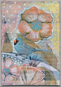 Detail Image for art Bluebird and Flowers