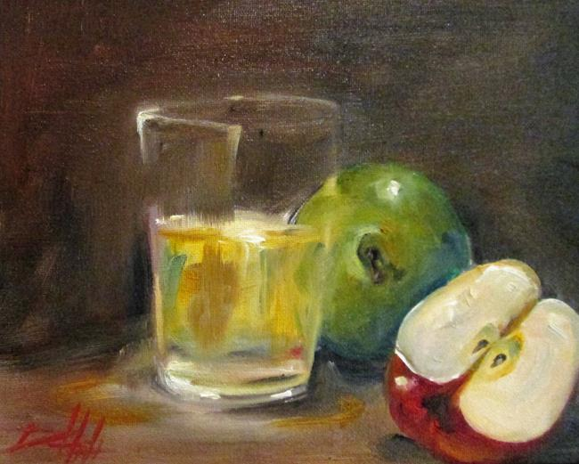 Art: Apples and a Glass by Artist Delilah Smith