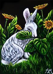 Art: Nibbling the Daisies  (SOLD) by Artist Monique Morin Matson