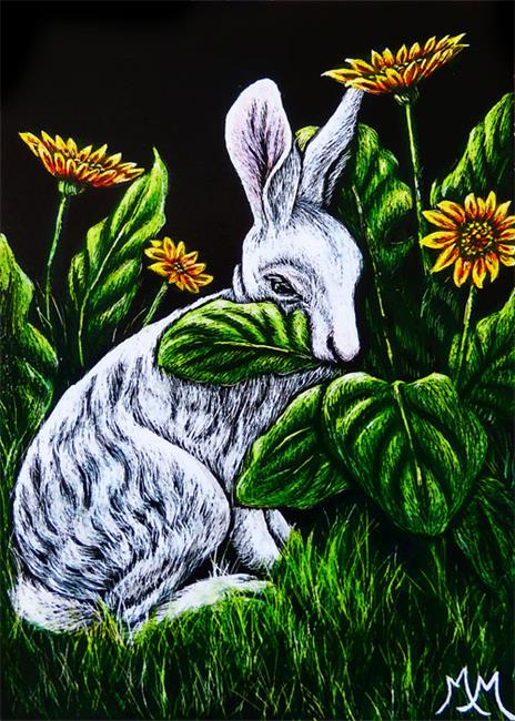 Art: Nibbling the Daisies  (SOLD) by Artist Monique Morin Matson