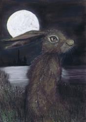 Art: MOONIGHT HARE h3316 by Artist Dawn Barker