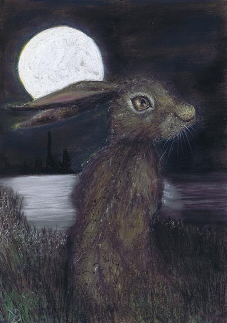 Art: MOONLIGHT HARE h3316 by Artist Dawn Barker